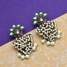 Black Rhodium & Gold Plated Brass Earrings Pearl Handmade Designer Jewellery