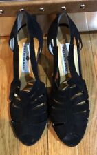 Saks Fifth Avenue Black Suede Sandal Heels Women's Size 8.5 Made in Italy