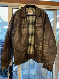 """Mens Heavy Leather Jacket - Brown - Galland (German Made) - 48"""" Chest"""