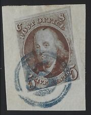"US Stamps - Sc# 1 - Used - Tied to Piece w/Blue ""5"" Cancel               (C-019)"
