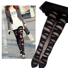 3 PAIR MULTIPACK WOMEN'S LADIES GIFT FASHION CUT-OUT BANDAGE BLACK TIGHTS PARTY