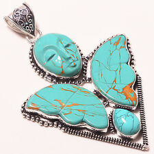 "Jewelry Pendant 3"" A-328 Copper Turquoise Flying Angel Ethnic"