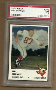 1961  FLEER  FOOTBALL MEL BRANCH # 208  PSA 7