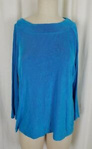 NWT QVC Style Citiknits Stretch Top Tunic Shirt Womens XL Blue Scoop Neck Ribbed