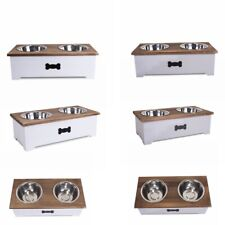 More details for luxury dog food feeding stand station stainless double raised  bowls wooden