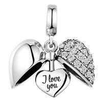 Love Heart I Love You S925 Sterling Silver Bead Charm Mum Mother Daughter Mam