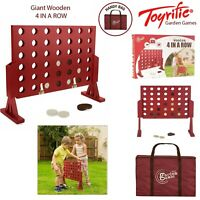 Garden Games Kids Outdoor Giant Wooden 4 In a Row Connect Four Table Activity