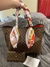 Auth Louis Vuitton Neverfull GM w/Wallet Scarf And Organizer