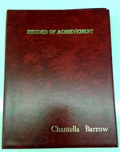 PRINTED WITH YOUR OWN NAME RECORD OF ACHIEVEMENT PVC FOLDER IN RED LEATHER LOOK