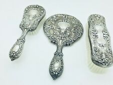 GORHAM Sterling Silver 3 Piece Vanity Set 23 BUTTERCUP Mirror & Two Brush w/ BOX