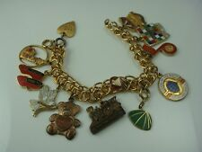 "VINTAGE WOMEN OF THE MOOSE WITH 12 GOLD TONE CHARMS 6 1/2"" LONG"