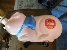 Vtg RARE Marx PIG Push Toy 1966 Big soft plastic Oink rolling Pink w sticker GUC