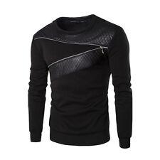 Men Warm Splicing Leather Sweatshirt Coat Jacket Outwear Cotton Sweater Blouse
