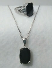 "Thai Black Spinel Ring & Pendant Set with Chain 20""Platinum over Sterling Silver"