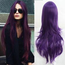 Harajuku Purple Long Straight Hair Cosplay Costume Womens Full Wig Parted Bangs