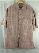 Batik Bay Men's Camp Shirt Size Large Mauve White Plaid Checked Short Sleeve