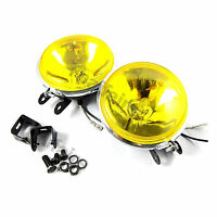 UNIVERSAL FOG LIGHT SPOT LAMP YELLOW 3 H3 12V 55W FISH EYE STYLE FOGLIGHT (L+R)