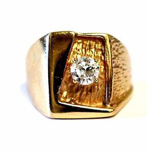 GIA 14k yellow gold .66ct SI1 H round diamond gents ring band mens estate 13.7g
