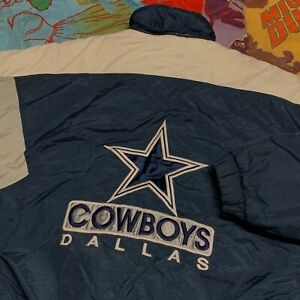 Dallas Cowboys Winter Jacket Youth L Blue Vintage NFL Football Puffer Pullover