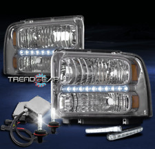 2005 2006 2007 FORD F250 F350 F450 SD LED HEADLIGHT LAMP CHROME W/DRL KIT+6K HID