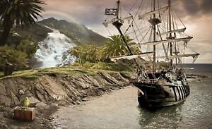 Vlies Fototapete XXL Tapete Poster 009456FW Piratenschiff Strand und Tropen