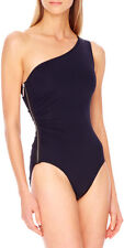 MICHAEL KORS TUNISIA SHIRRED 1 SHOULDER ZIP MAILLOT SWIMSUIT BLACK SZ 6 NEW $112