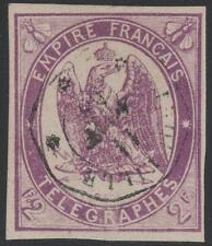 "FRANCE TIMBRE TELEGRAPHE N° 4 "" 2F VIOLET NON DENTELE 1868 "" OBLITERE TB K331"