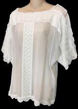 Isabel Marant Blouse Short Sleeve Eyelet Embroidered White Size 36 Nwt $470