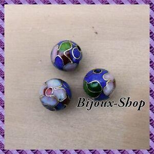 25 Perles métal, peinte a la main 10mm (bleu)