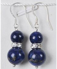 Fashion 8mm /10mm round lapis lazuli Silver Hook Dangle earrings