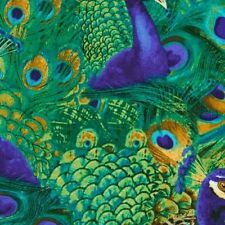 Timeless Treasures Peacock C5299 Teal Peacocks BTY Cotton Fab