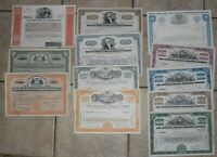 Lot of 12 Different Vintage Railroad Stock Certificates