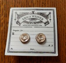Erica Weiner Crest Silver Tone Stud Earrings vintage round NEW
