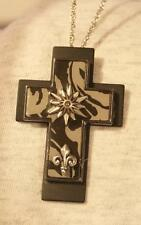 Handsome Layered Gray Black Starry Fleur de Lis Pectoral Cross Pendant Necklace