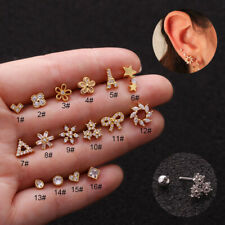 1Pc 925 Silver Ear Piercing Flower Star Stud Earring Cartilage Helix Tragus Gift