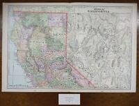 "Vintage 1900 NORTHERN CALIFORNIA Map 22""x14"" ~ Old Antique Original REDDING USA"
