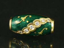 Faberge Brillant Wechselschließe ca. 0,22ct grünes Email  750/- Gelbgold