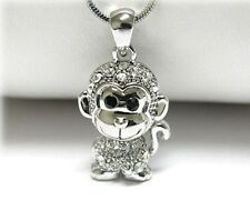 """NEW RHINESTONE CRYSTAL MONKEY PENDANT NECKLACE WHITE GOLD PLATED 18"""" CHAIN"""