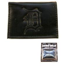More details for detroit tigers black leather tri-fold wallet