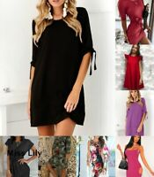 Womens Slim Holiday Loose Tops Plus size Baggy Short Party UK Warm Mini Dresses