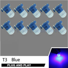 10pcs Blue LED T3 COB Wedge Bulb Instrument Panel Gauge Lamp Light 12V