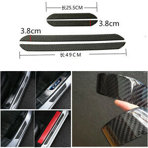 4pcs 48cm+25cm Carbon Fiber Car Front Rear Scuff Plate Door Sill Protector Cover