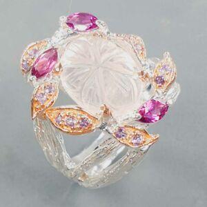 Handmade fine Art Rose Quartz Ring Silver 925 Sterling  Size 8.5 /R170224