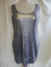 Ladies Dress - Influence, size 14, grey sequins, racer back, fitted/tight - 1806