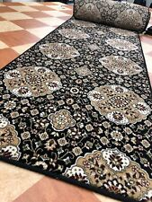 Carpet Runner 13ftX3ft BLACK pattern Traditional Woven Wilton Very Long Hall Rug