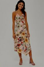 Topshop Nude Pink Star & Floral Ruffle Wrap Midi Slip Dress - Size 12