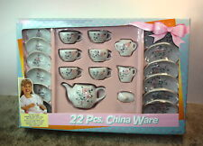 Fishel Toys Hong Kong 1993 Child Pink Roses Porcelain Tea Set 22 Pcs Original Bo