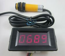 12V 4 Digit Red Counter Meter+Infrared Proximity Photoelectric Switch Sensor NPN