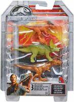 Jurassic World Mini Figures TRICERATOPS, SYGIMOLOCH, T-REX 3 Pack Mattel NEW