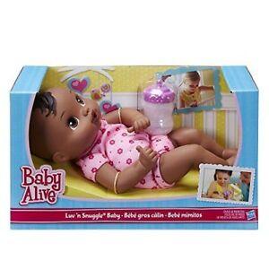 African American Black doll, Baby Alive Luv 'n Snuggle soft cuddle Hasbro doll
